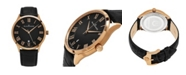 Stuhrling Alexander Watch A103-05, Stainless Steel Rose Gold Tone Case on Black Embossed Genuine Leather Strap