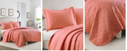 Laura Ashley Solid Coral Quilt Set, Twin