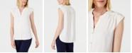 Anne Klein Shirred-Seam Button-Up Blouse