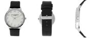 Christian Siriano New York Christian Siriano Women's Analog MOP Stainless Steel Black Vegan Leather Watch 40mm