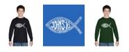 LA Pop Art Boy's Word Art Long Sleeve - John 3:16 Fish Symbol