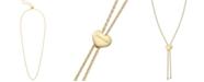 "Calvin Klein Rocking Stainless Steel PVD Heart 28"" Adjustable Necklace"