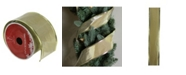 """Northlight Pack of 12 Shimmery Gold Horizontal Wired Christmas Craft Ribbon Spools - 2.5"""" x 120 Yards Total"""
