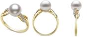 Belle de Mer Cultured Freshwater Pearl (8mm) & Diamond (1/20 ct. t.w.) Ring in 14k Gold
