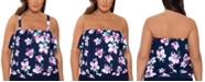 Swim Solutions Plus Size Floral Printed Blouson Ruffled Tankini Top, Created for Macy's