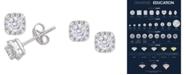 Macy's Certified Diamond 3/4 ct. t.w. Cushion Halo Stud Earrings in 14k White Gold
