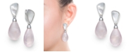 Macy's Mother of Pearl and Rose Quartz 21x25mm Drop Earrings in Sterling Silver