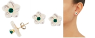 Macy's Mother-of-Pearl Flower & Lab Created Emerald, Ruby or Sapphire Stud Earrings in 10k Gold