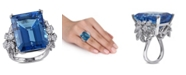 Macy's Blue Topaz (28 1/4 ct. t.w.) and Diamond (1 3/4 ct. t.w.) Ring in 14k White Gold