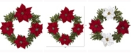 Nearly Natural 21in. Olive with Poinsettia Artificial Wreath