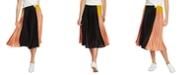 1.STATE Colorblocked Pleated Midi Skirt