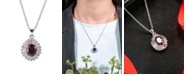 A&M Silver-Tone Layered Garnet Accent Pendant Necklace
