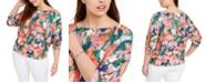 Belldini Plus Size Printed Puff-Sleeve Top