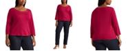 Lauren Ralph Lauren Plus-Size Cotton Elbow-Sleeve Top