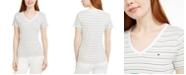 Tommy Hilfiger Cotton Striped V-Neck Top