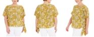 Michael Kors Plus Size Paisley Side-Tie Top