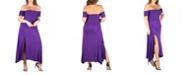 24seven Comfort Apparel Women's Plus Size Off Shoulder Dress