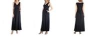24seven Comfort Apparel Maxi Maternity Sleeveless Dress with Pockets