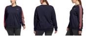 adidas Essentials Plus Size 3 Stripe Fleece Sweatshirt