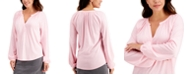 Charter Club Split-Neck Blouson Top, Created for Macy's