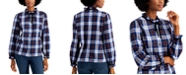 Charter Club Petite Cotton Plaid Ruffled-Neck Shirt, Created for Macy's