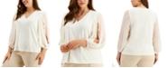 Alfani Plus Size Split-Sleeve Top, Created for Macy's