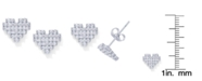 Macy's Cubic Zirconia Heart Stud Earrings in Fine Silver Plate