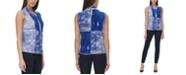 DKNY Printed Tie-Neck Top