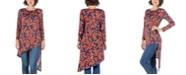 24seven Comfort Apparel Women's Long Sleeve Asymmetric Knee Length Top