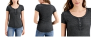 Crave Fame Juniors' Waffle-Knit Henley Top