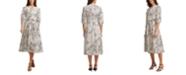 DKNY Ditsy-Print Belted Dress