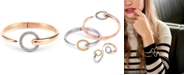 CHARRIOL White Topaz Two-Tone Bangle Bracelet (1/5 ct. t.w.) in Stainless Steel & 14k Rose Gold-Plated Stainless Steel PVD