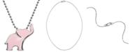 "Alex Woo Pink Enamel Elephant 16"" Pendant Necklace in Sterling Silver"