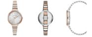 BCBGMAXAZRIA Ladies Two Tone Rose GoldTone Bracelet Watch with Silver Dial, 34mm