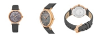 Stuhrling Alexander Watch A201-04, Ladies Quartz Small-Second Watch with Rose Gold Tone Stainless Steel Case on Gray Satin Strap