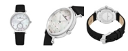 Stuhrling Alexander Watch AD201-01, Ladies Quartz Small-Second Watch with Stainless Steel Case on Black Satin Strap