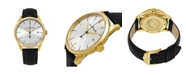Stuhrling Alexander Watch A911-07, Stainless Steel Yellow Gold Tone Case on Black Embossed Genuine Leather Strap