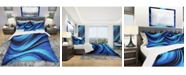 Design Art Designart 'Blue And Black Transition' Modern and Contemporary Duvet Cover Set - Queen