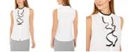 Calvin Klein Petite Sleeveless Ruffled Button-Front Top