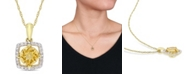 """Macy's Citrine (3/4 ct. t.w.) and Diamond (1/10 ct. t.w.) Square Halo 17"""" Necklace in 10k Yellow Gold"""