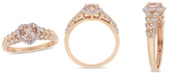 Macy's Morganite (1/2 ct. t.w.) and Diamond (1/20 ct. t.w.) Halo Heart Ring in 10k Rose Gold