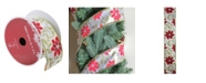 """Northlight Red Poinsettia Print Gold Wired Christmas Craft Ribbon 2.5"""" x 10 Yards"""