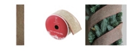 """Northlight 2.5"""" Beige Burlap and Red Trim Wired Christmas Craft Ribbon"""