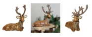 """Northlight 16.5"""" Brown and Gold Reindeer Lying Down Christmas Table Figure"""