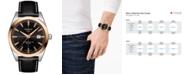 Tissot Men's Swiss Automatic Gentlemen Black Leather Strap Watch 40mm