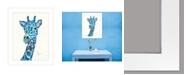 "Trendy Decor 4U Blue Giraffe by Lisa Morales, Ready to hang Framed Print, White Frame, 15"" x 19"""
