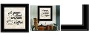 "Trendy Decor 4U A Silent Scream for Coffee by SUSAn Ball, Ready to hang Framed Print, Black Frame, 15"" x 15"""