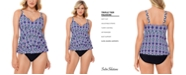 Swim Solutions Jewels Printed Tiered Tummy Control One-Piece Swimsuit, Created for Macy's