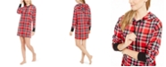 Betsey Johnson Women's Velour Plaid Sleepshirt Nightgown