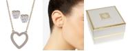 "Anne Klein Gold-Tone Crystal Heart Pendant Necklace & Stud Earrings Set, 16"" + 3"" extender"